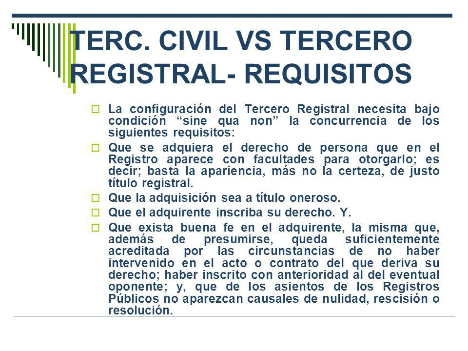 TERC. CIVIL VS TERCERO REGISTRAL- REQUISITOS
