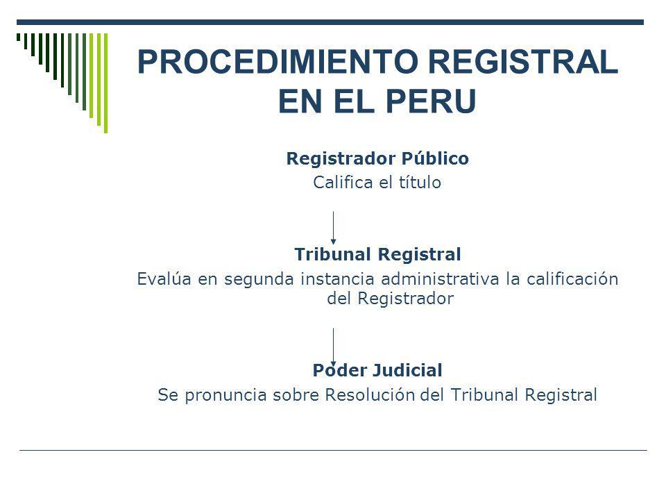 PROCEDIMIENTO REGISTRAL EN EL PERU