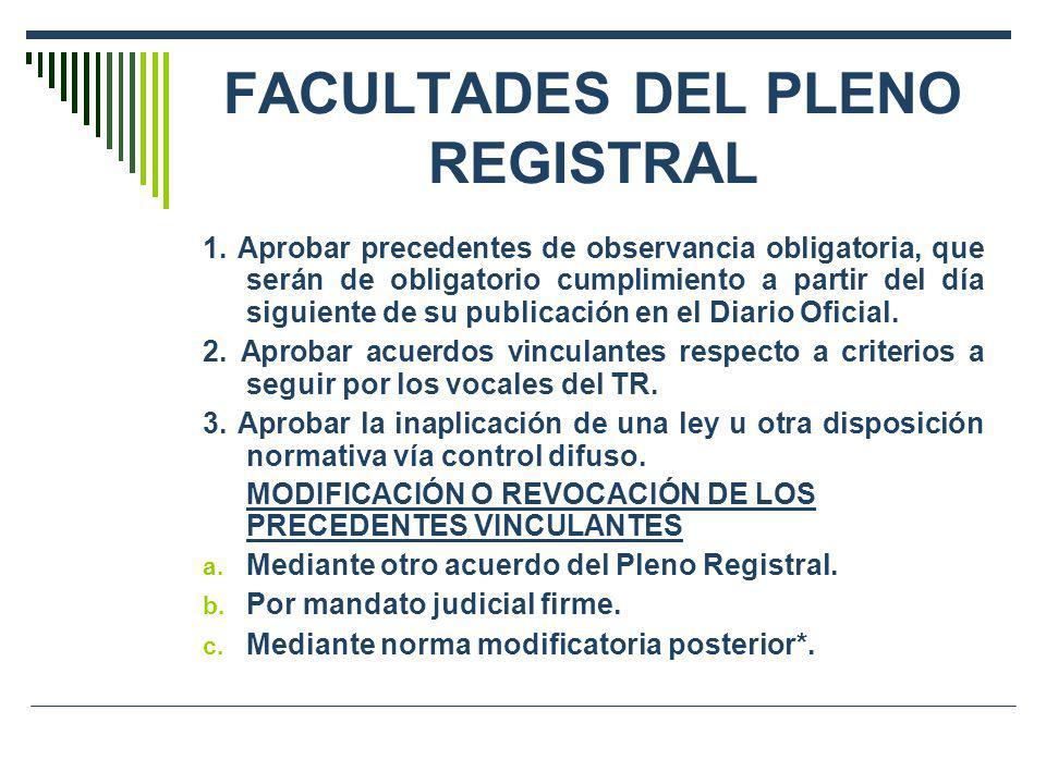 FACULTADES DEL PLENO REGISTRAL