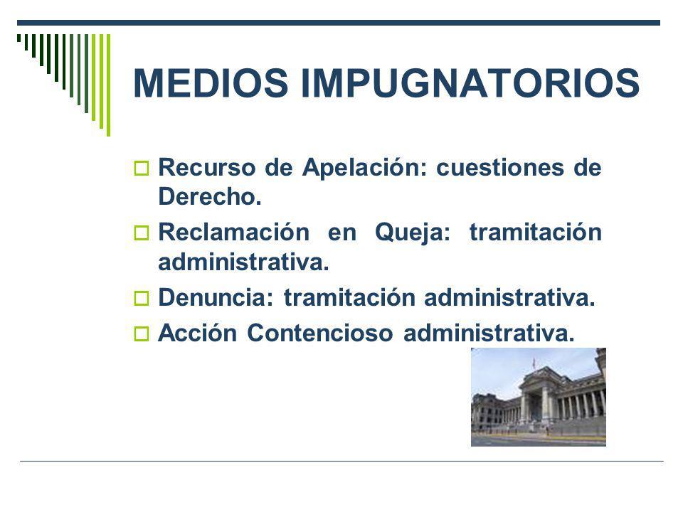 MEDIOS IMPUGNATORIOS Recurso de Apelación: cuestiones de Derecho.