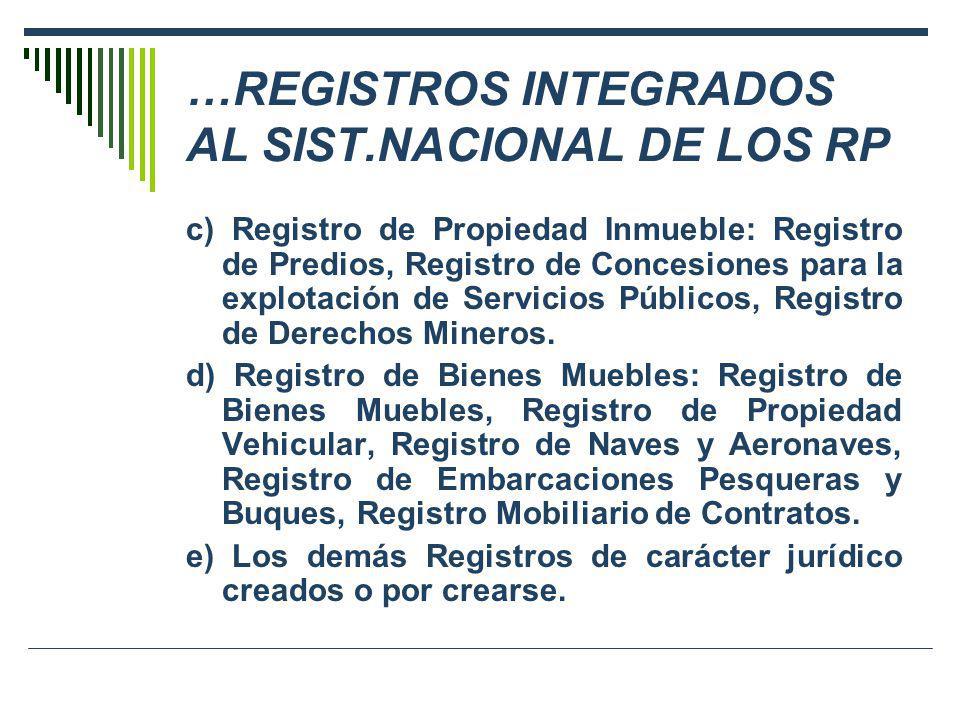 …REGISTROS INTEGRADOS AL SIST.NACIONAL DE LOS RP