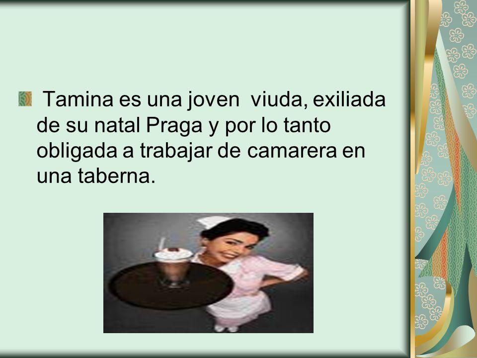 Tamina es una joven viuda, exiliada de su natal Praga y por lo tanto obligada a trabajar de camarera en una taberna.