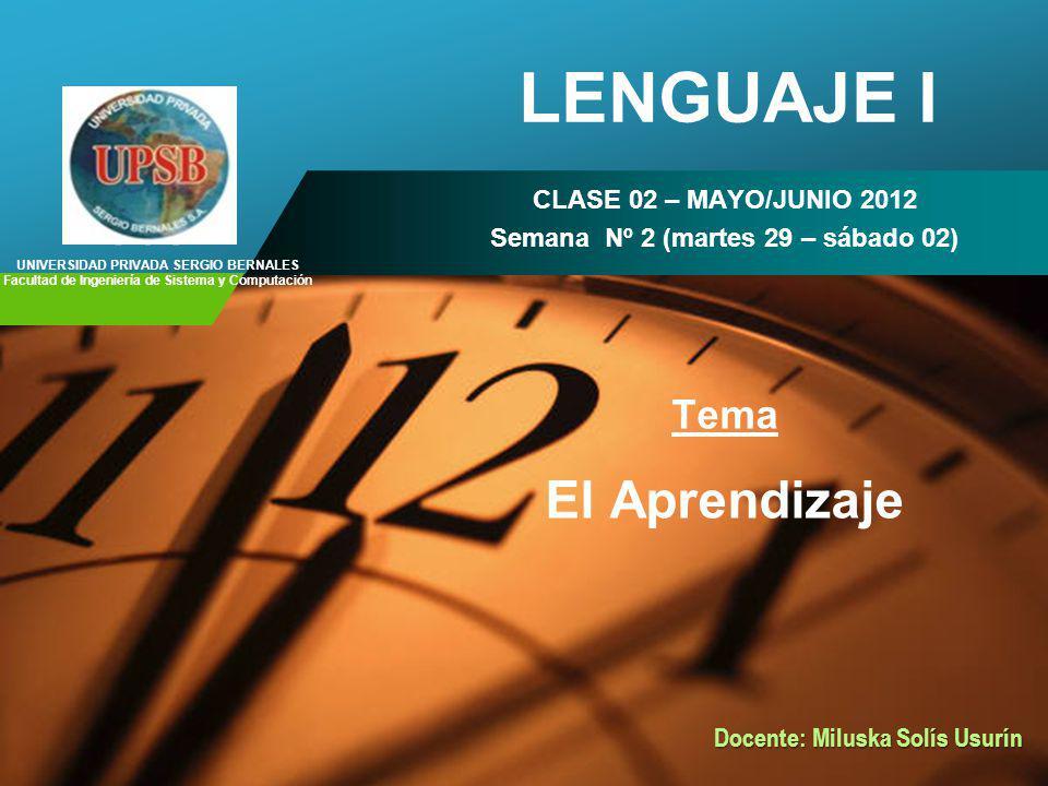 LENGUAJE I El Aprendizaje Tema CLASE 02 – MAYO/JUNIO 2012