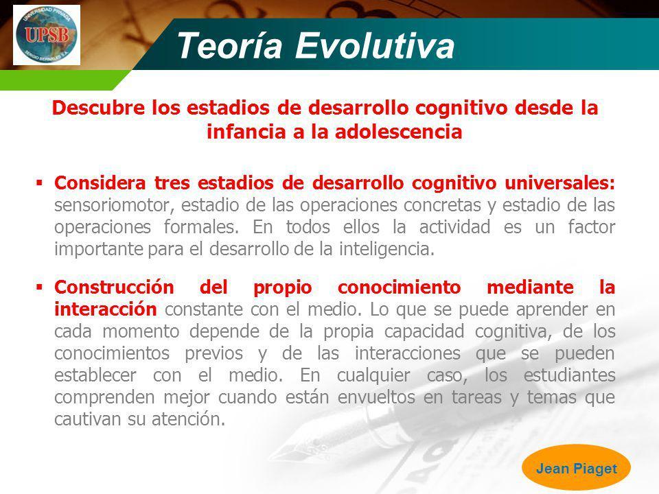 Teoría Evolutiva Descubre los estadios de desarrollo cognitivo desde la infancia a la adolescencia.