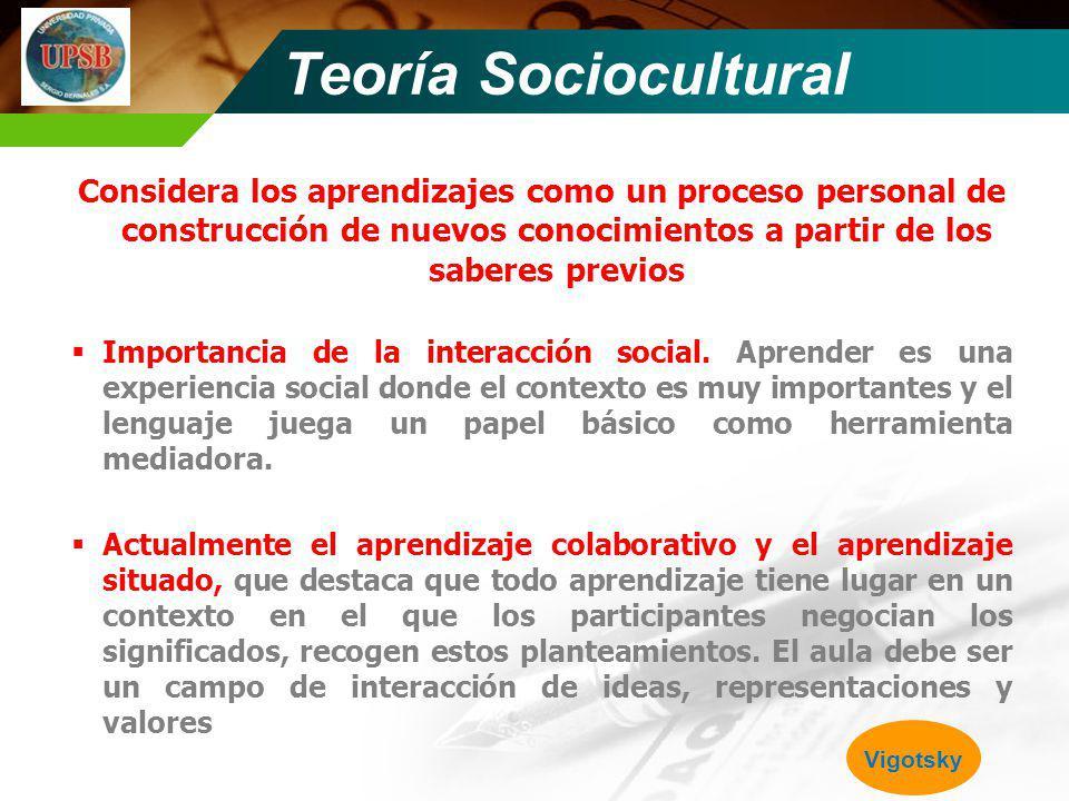 Teoría Sociocultural Considera los aprendizajes como un proceso personal de construcción de nuevos conocimientos a partir de los saberes previos.