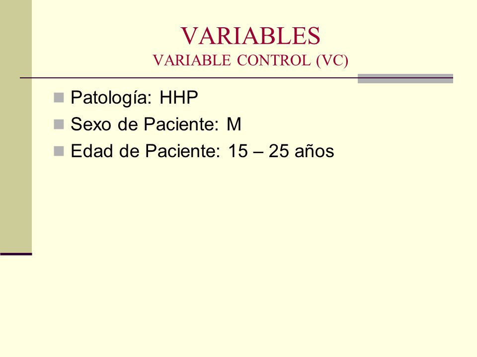 VARIABLES VARIABLE CONTROL (VC)