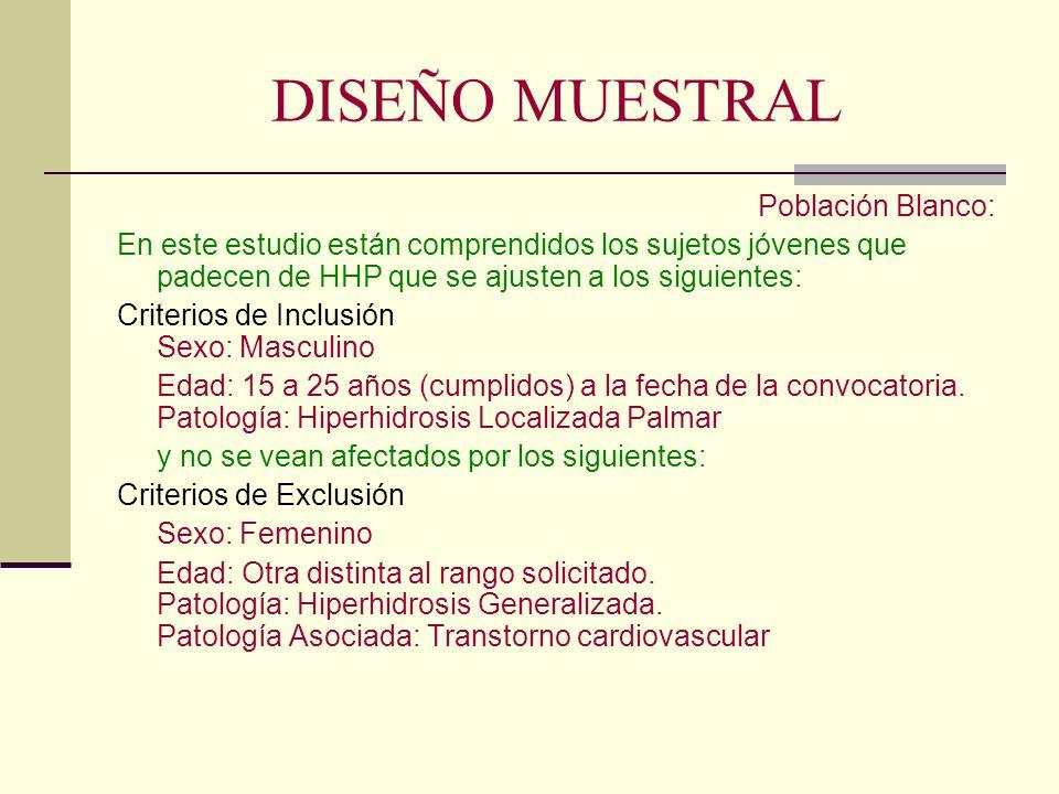 DISEÑO MUESTRAL Población Blanco:
