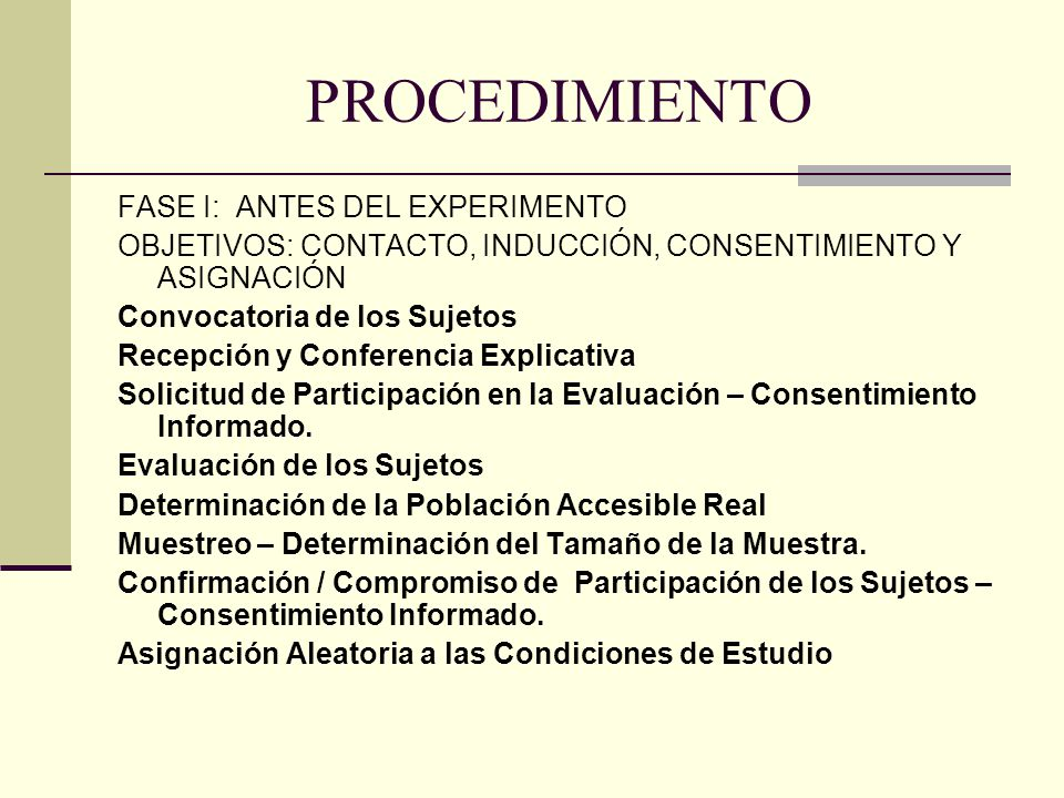 PROCEDIMIENTO FASE I: ANTES DEL EXPERIMENTO