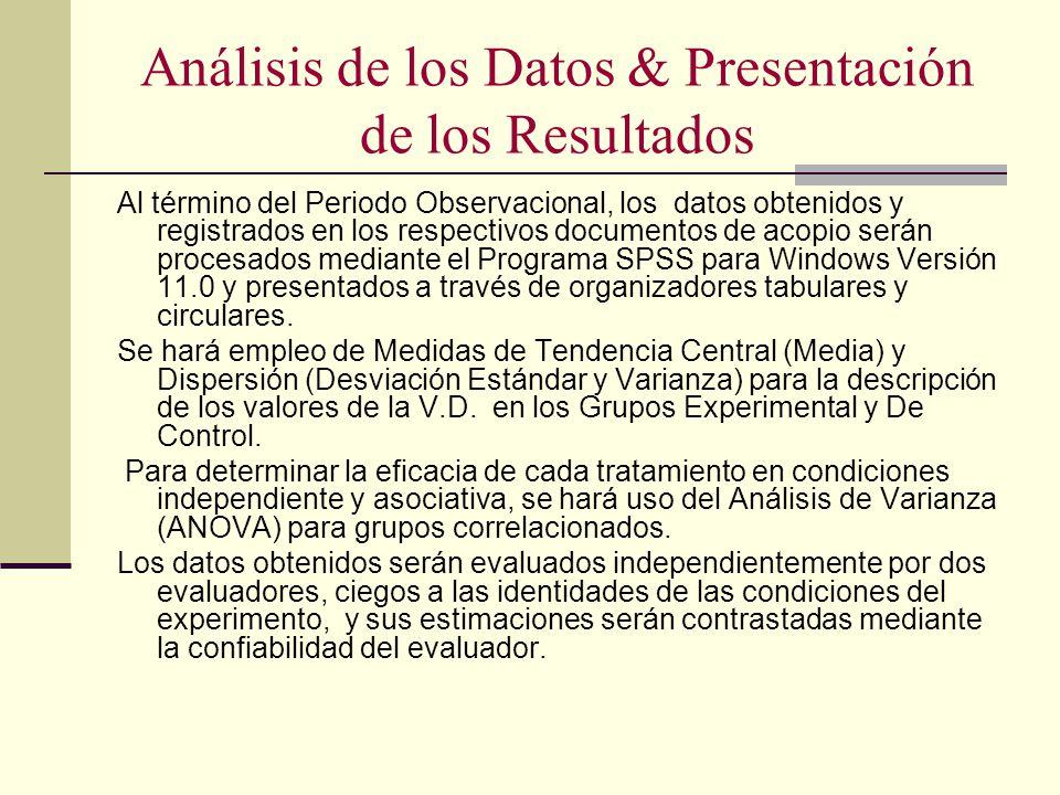Análisis de los Datos & Presentación de los Resultados
