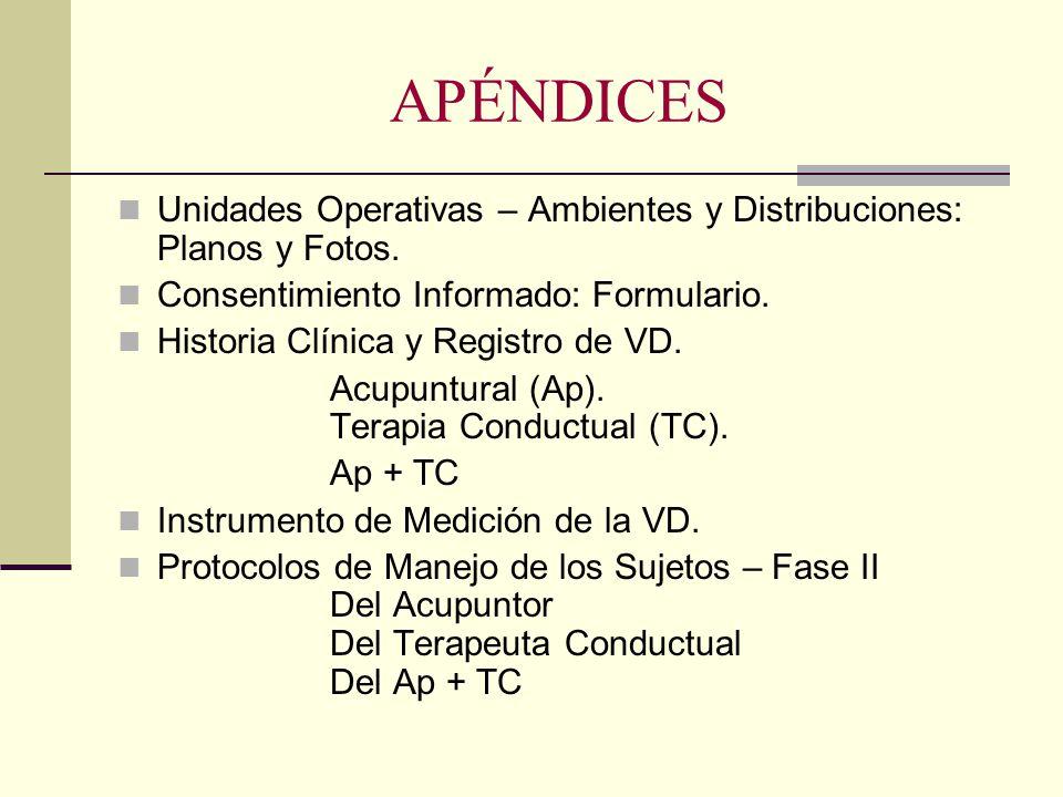 APÉNDICES Unidades Operativas – Ambientes y Distribuciones: Planos y Fotos. Consentimiento Informado: Formulario.