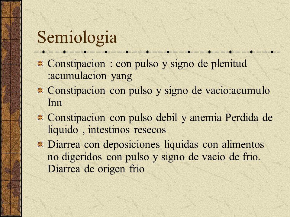 Semiologia Constipacion : con pulso y signo de plenitud :acumulacion yang. Constipacion con pulso y signo de vacio:acumulo Inn.