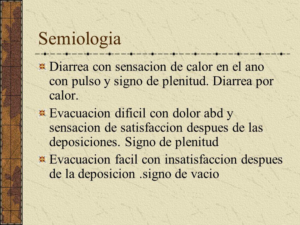 Semiologia Diarrea con sensacion de calor en el ano con pulso y signo de plenitud. Diarrea por calor.