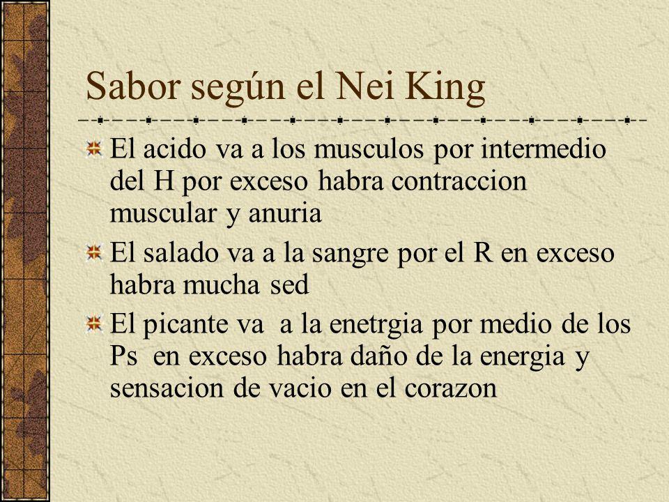 Sabor según el Nei King El acido va a los musculos por intermedio del H por exceso habra contraccion muscular y anuria.