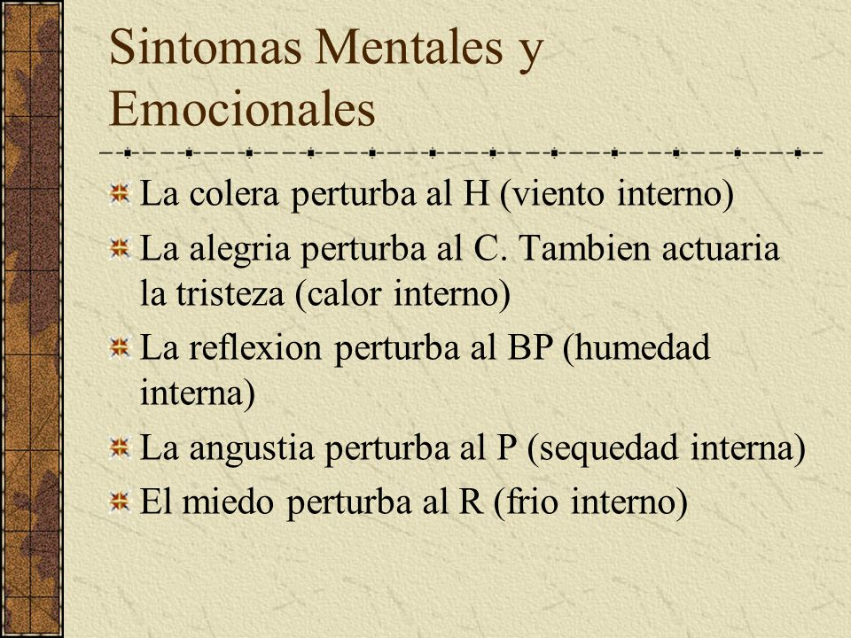 Sintomas Mentales y Emocionales