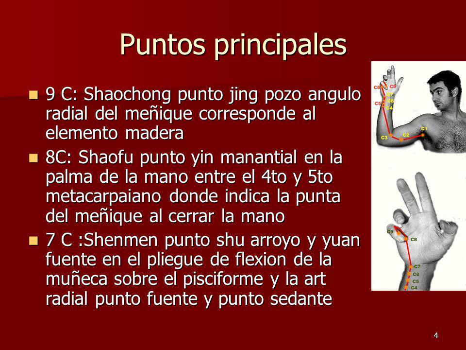Puntos principales 9 C: Shaochong punto jing pozo angulo radial del meñique corresponde al elemento madera.