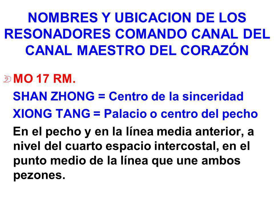 NOMBRES Y UBICACION DE LOS RESONADORES COMANDO CANAL DEL CANAL MAESTRO DEL CORAZÓN