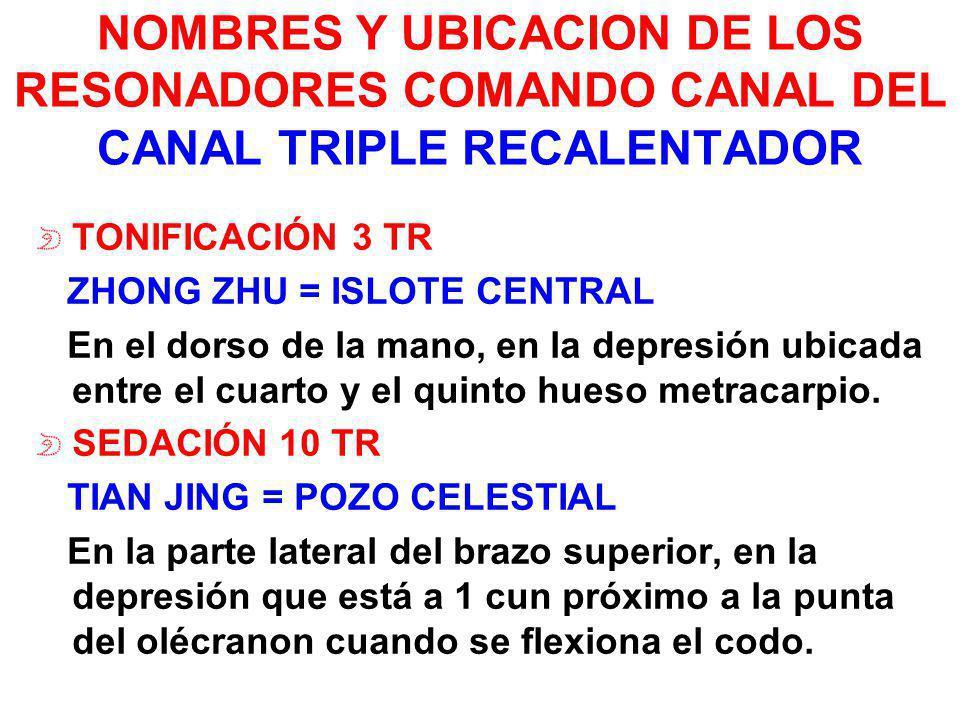NOMBRES Y UBICACION DE LOS RESONADORES COMANDO CANAL DEL CANAL TRIPLE RECALENTADOR