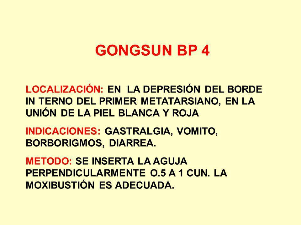 GONGSUN BP 4 LOCALIZACIÓN: EN LA DEPRESIÓN DEL BORDE IN TERNO DEL PRIMER METATARSIANO, EN LA UNIÓN DE LA PIEL BLANCA Y ROJA.