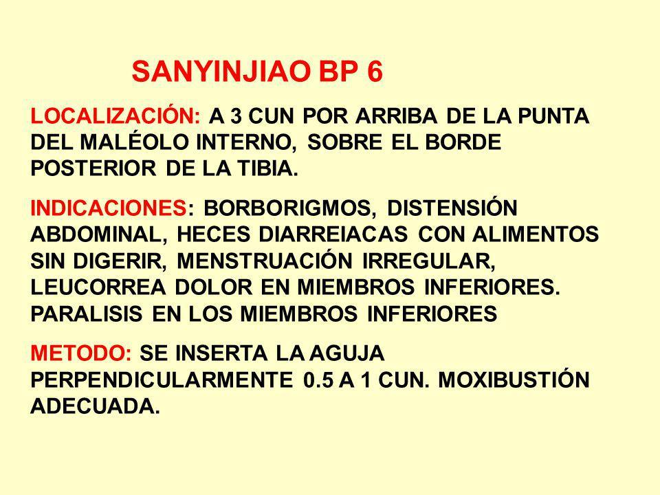 SANYINJIAO BP 6 LOCALIZACIÓN: A 3 CUN POR ARRIBA DE LA PUNTA DEL MALÉOLO INTERNO, SOBRE EL BORDE POSTERIOR DE LA TIBIA.