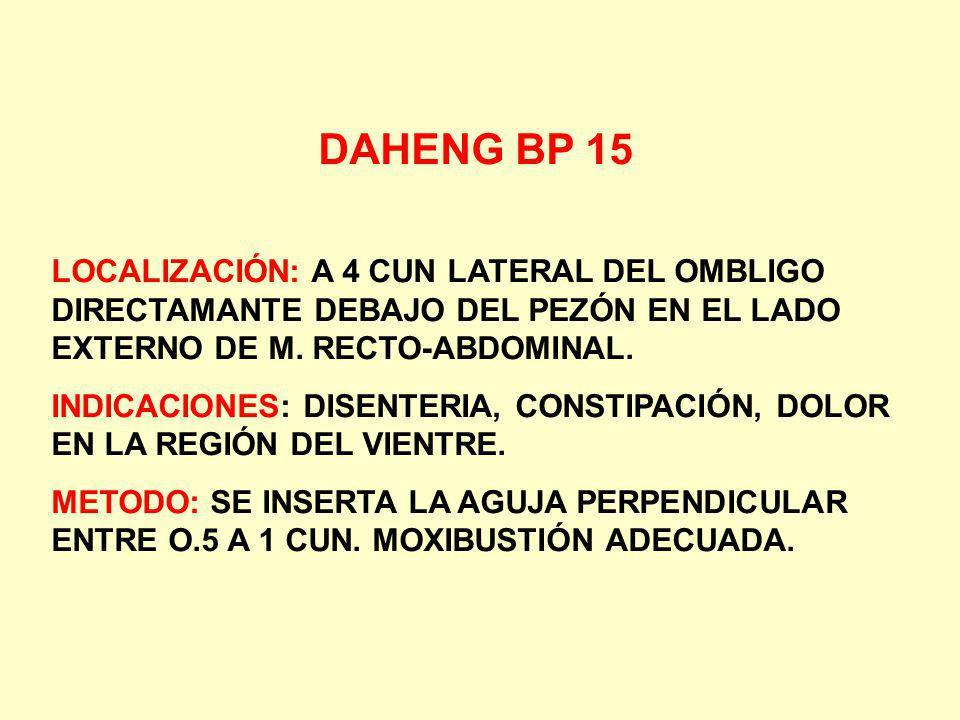 DAHENG BP 15 LOCALIZACIÓN: A 4 CUN LATERAL DEL OMBLIGO DIRECTAMANTE DEBAJO DEL PEZÓN EN EL LADO EXTERNO DE M. RECTO-ABDOMINAL.
