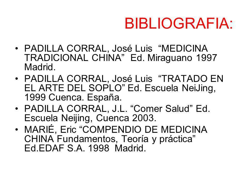 BIBLIOGRAFIA: PADILLA CORRAL, José Luis MEDICINA TRADICIONAL CHINA Ed. Miraguano 1997 Madrid.