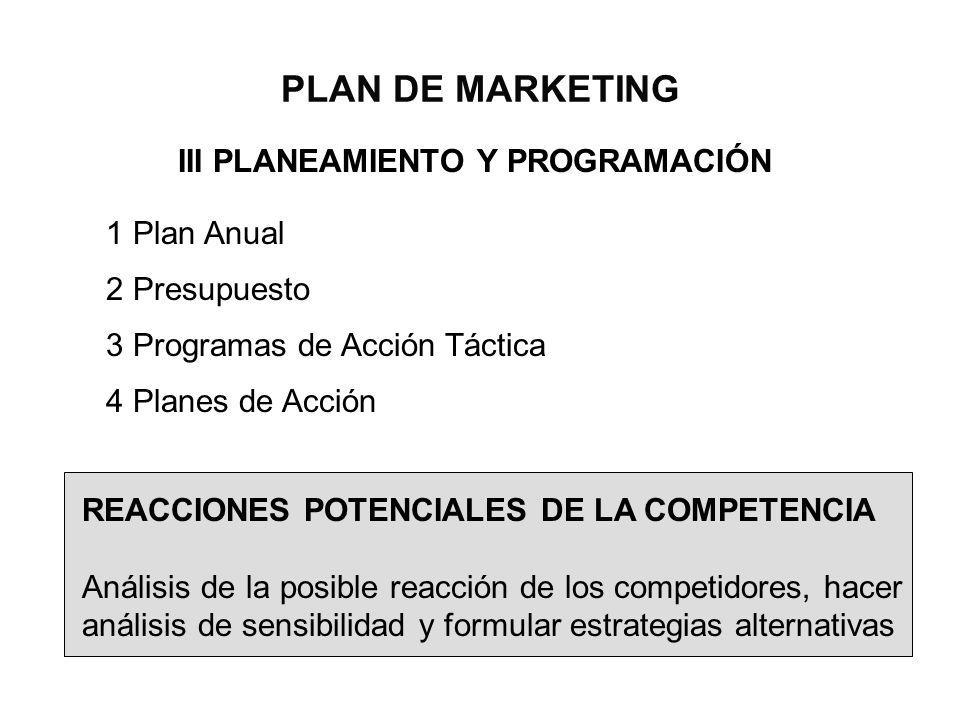 PLAN DE MARKETING III PLANEAMIENTO Y PROGRAMACIÓN 1 Plan Anual