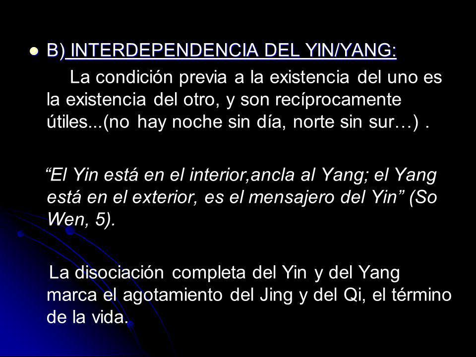 B) INTERDEPENDENCIA DEL YIN/YANG: