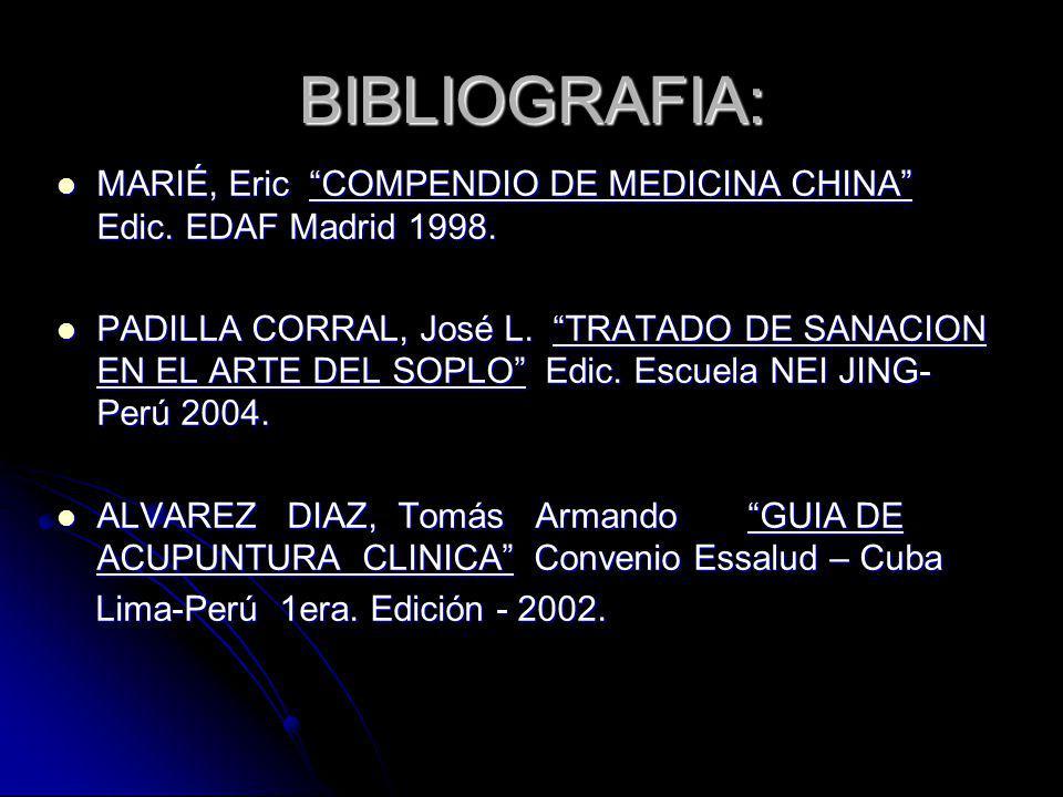 BIBLIOGRAFIA: MARIÉ, Eric COMPENDIO DE MEDICINA CHINA Edic. EDAF Madrid 1998.