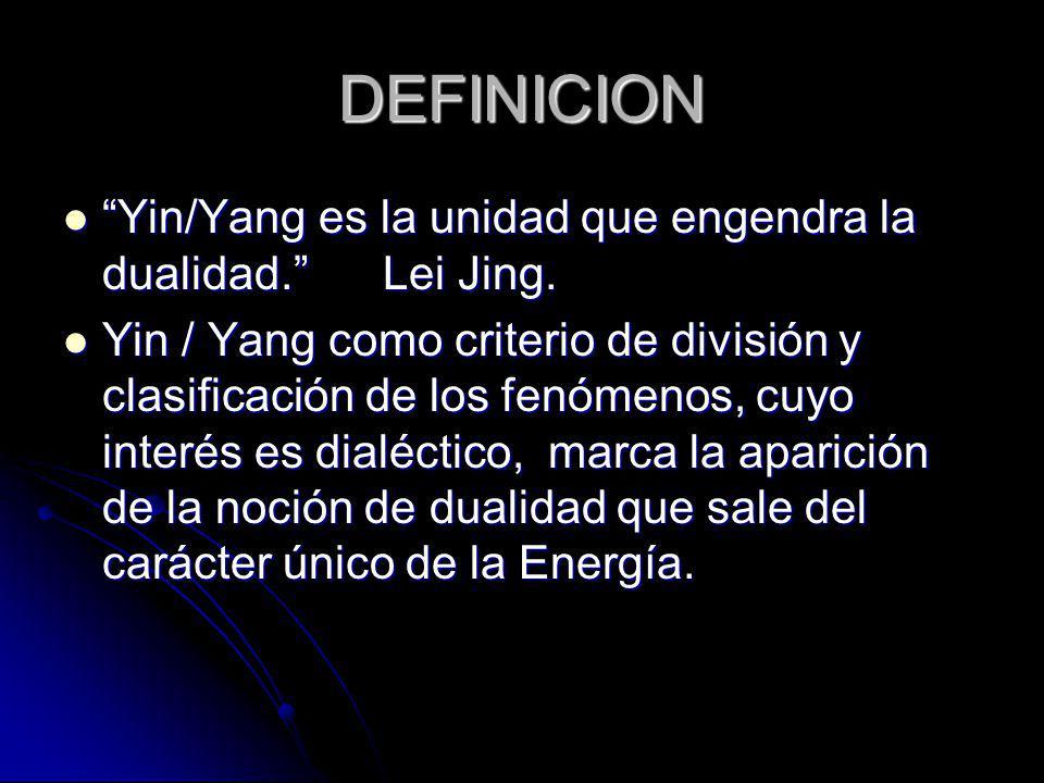 DEFINICION Yin/Yang es la unidad que engendra la dualidad. Lei Jing.