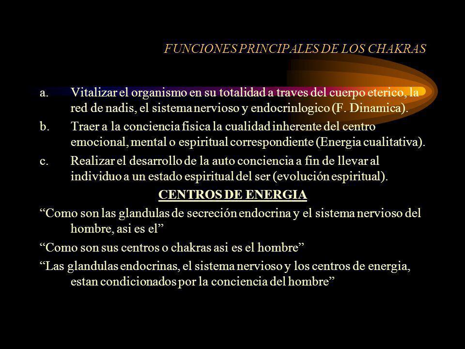 FUNCIONES PRINCIPALES DE LOS CHAKRAS