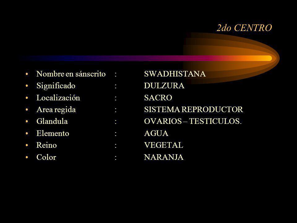 2do CENTRO Nombre en sánscrito : SWADHISTANA Significado : DULZURA