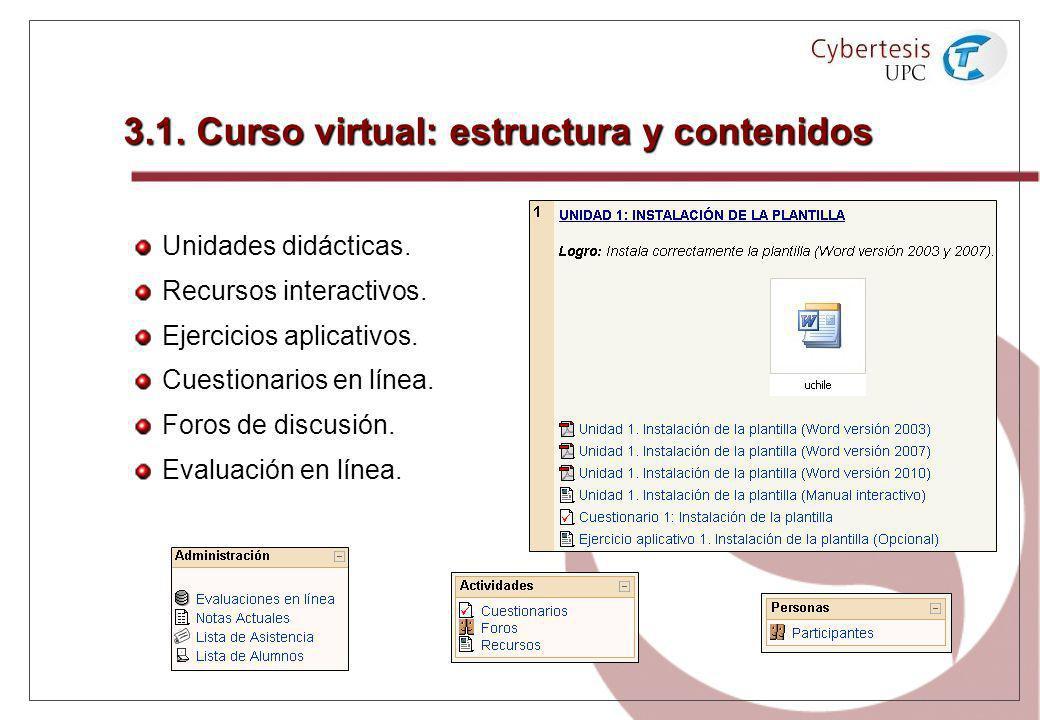 3.1. Curso virtual: estructura y contenidos