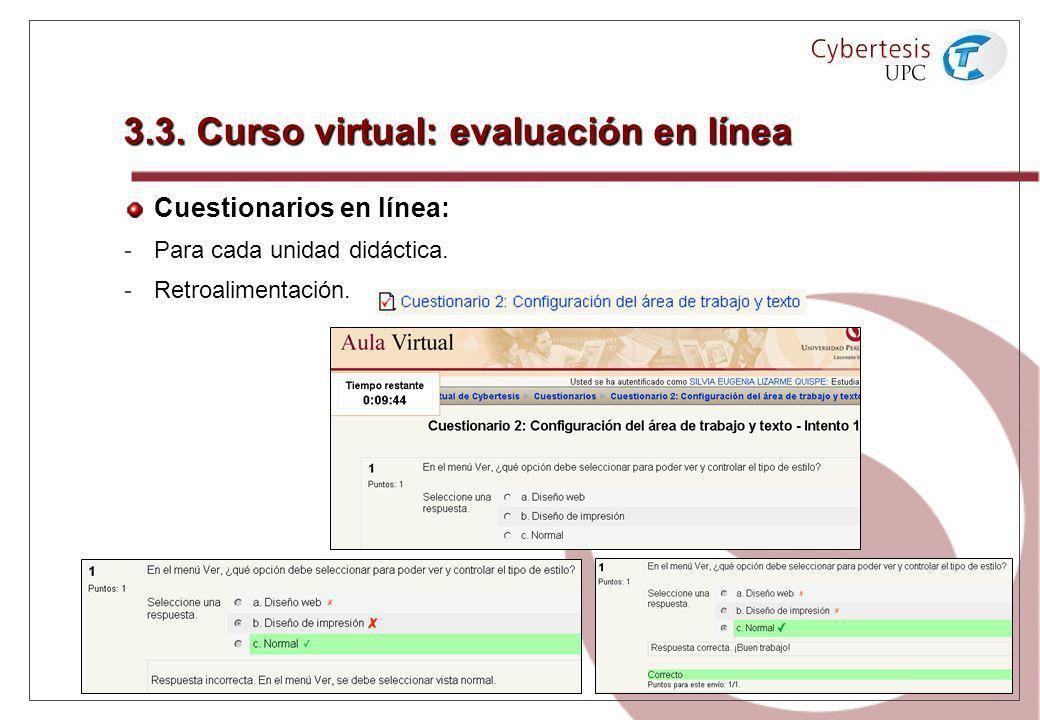 3.3. Curso virtual: evaluación en línea