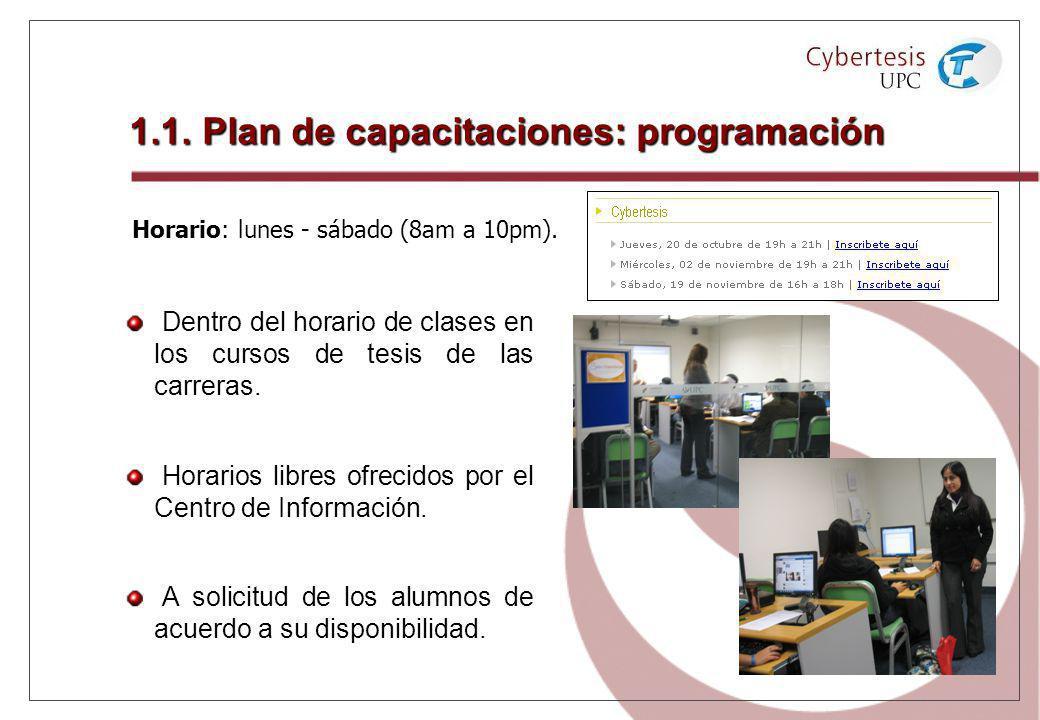 1.1. Plan de capacitaciones: programación