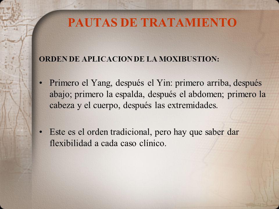 PAUTAS DE TRATAMIENTO ORDEN DE APLICACION DE LA MOXIBUSTION: