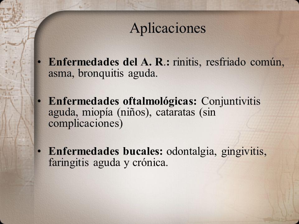 Aplicaciones Enfermedades del A. R.: rinitis, resfriado común, asma, bronquitis aguda.