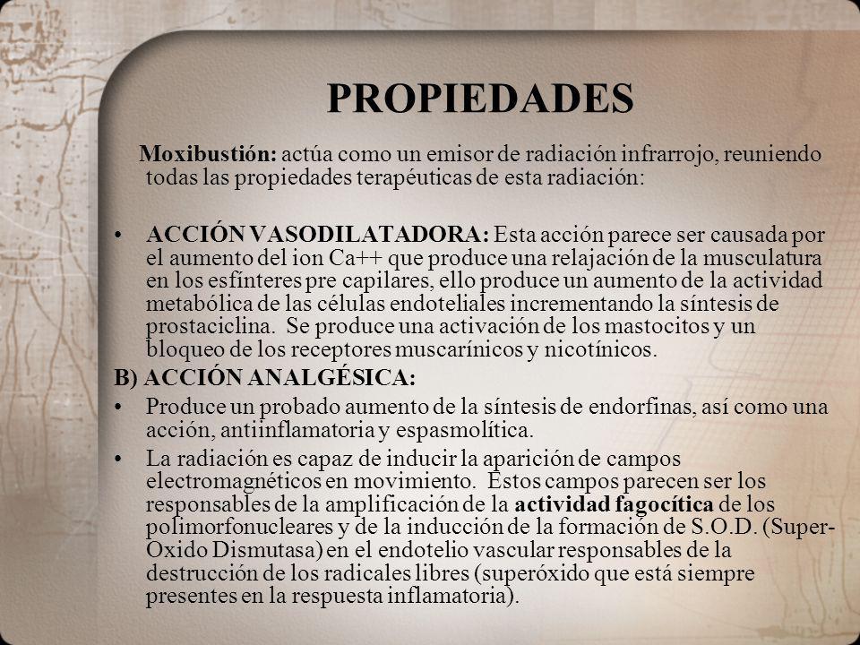 PROPIEDADES Moxibustión: actúa como un emisor de radiación infrarrojo, reuniendo todas las propiedades terapéuticas de esta radiación: