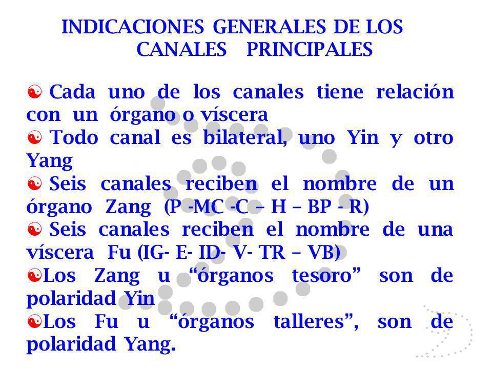 INDICACIONES GENERALES DE LOS CANALES PRINCIPALES