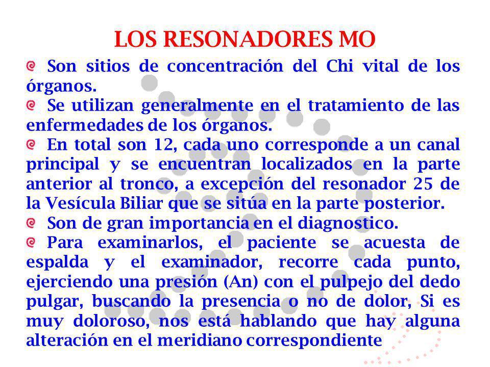 LOS RESONADORES MO Son sitios de concentración del Chi vital de los órganos.