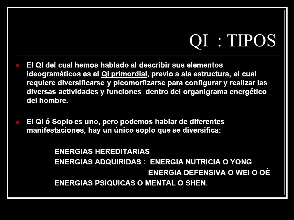 QI : TIPOS