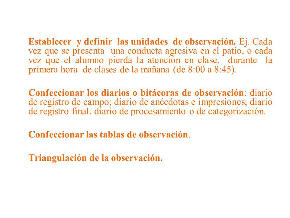 Establecer y definir las unidades de observación. Ej