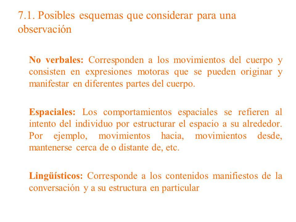 7.1. Posibles esquemas que considerar para una observación
