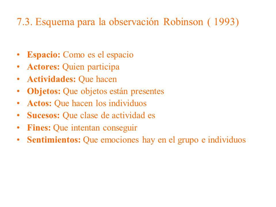 7.3. Esquema para la observación Robinson ( 1993)