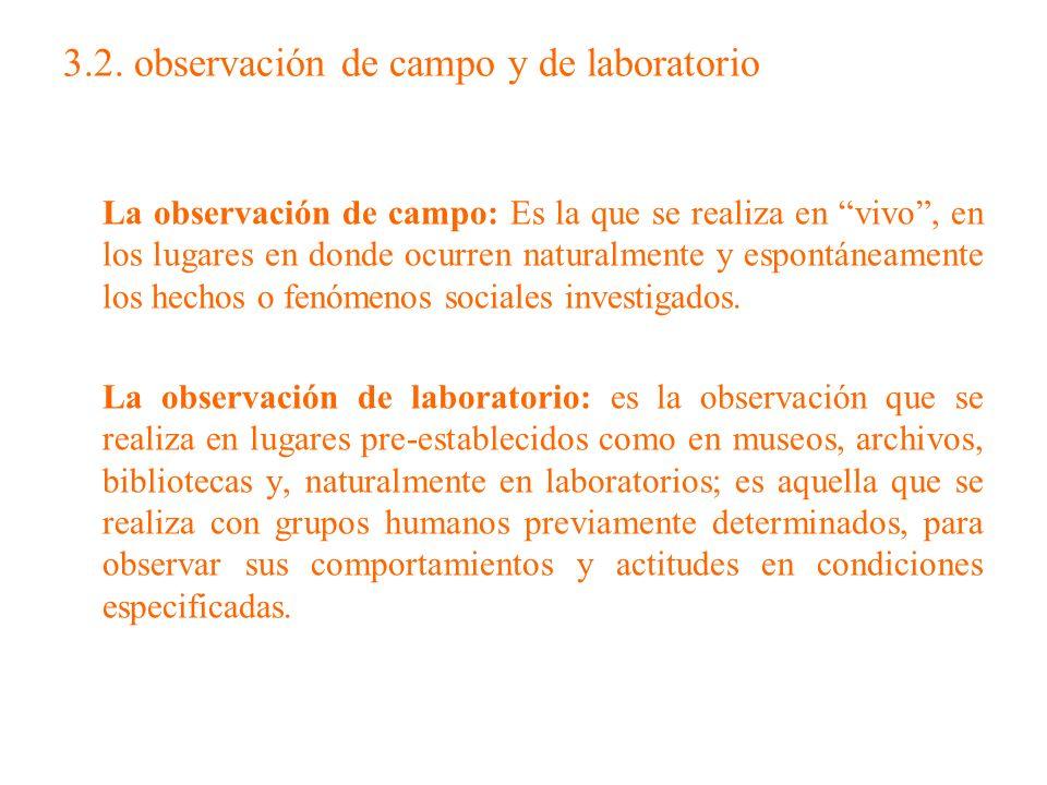 3.2. observación de campo y de laboratorio