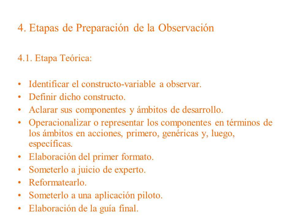 4. Etapas de Preparación de la Observación