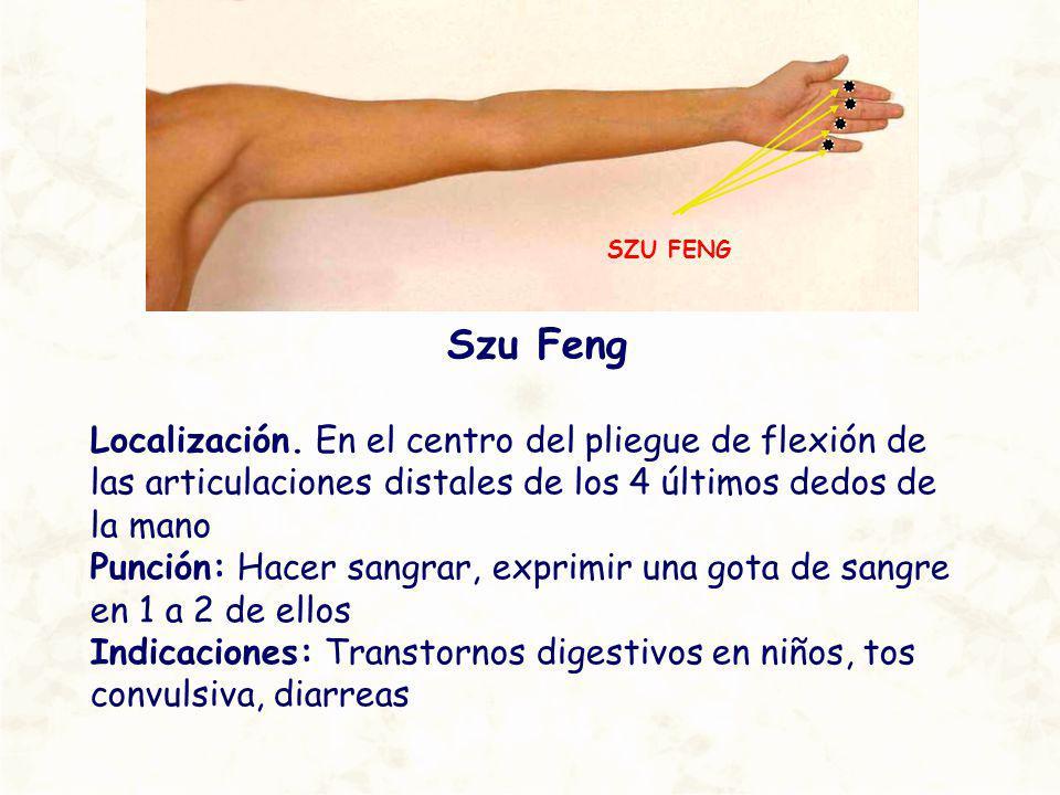SZU FENG Szu Feng. Localización. En el centro del pliegue de flexión de las articulaciones distales de los 4 últimos dedos de la mano.