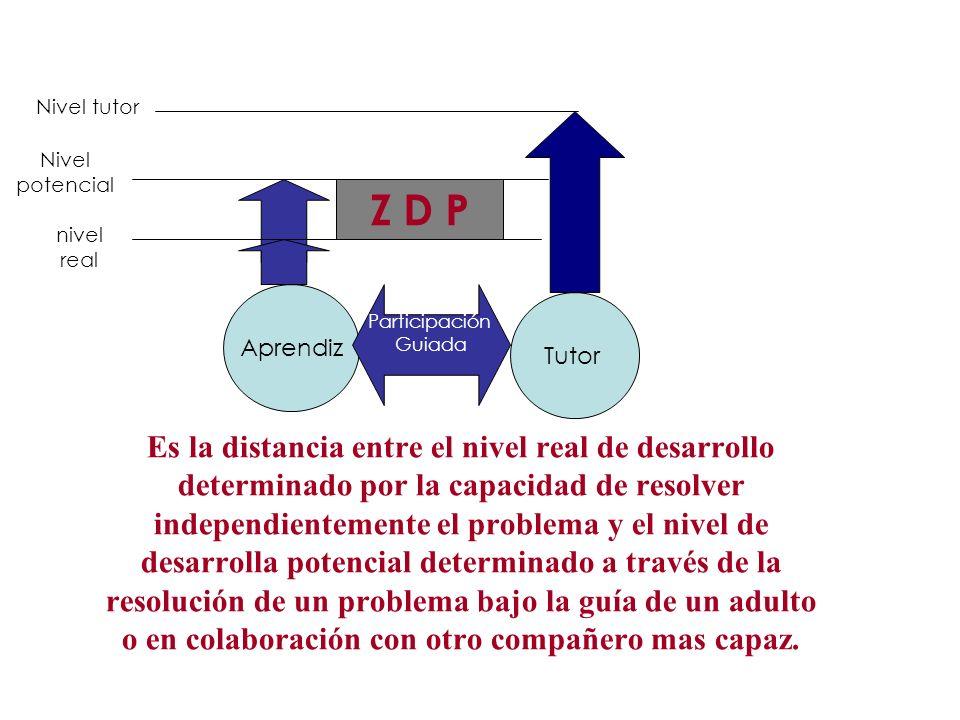 Nivel tutor Nivel. potencial. Z D P. nivel real. Aprendiz. Participación. Guiada. Tutor.