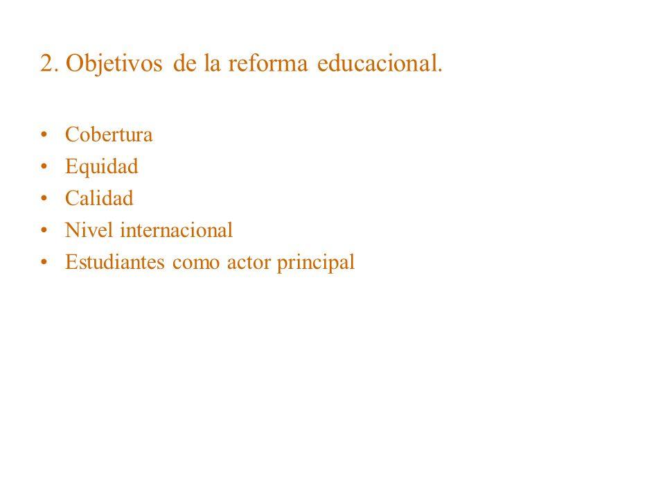 2. Objetivos de la reforma educacional.