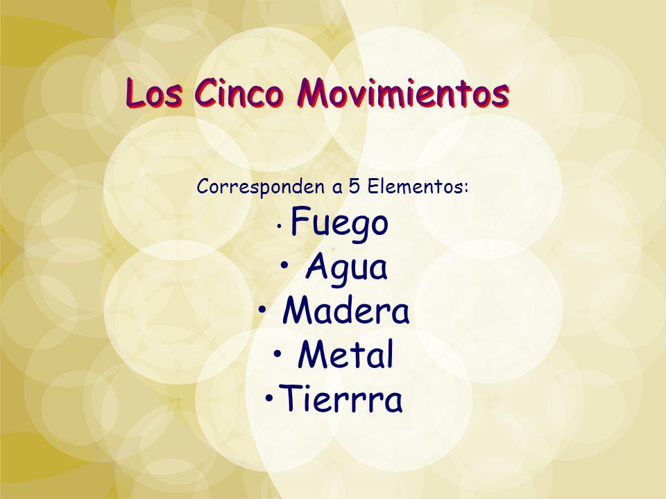 Corresponden a 5 Elementos: