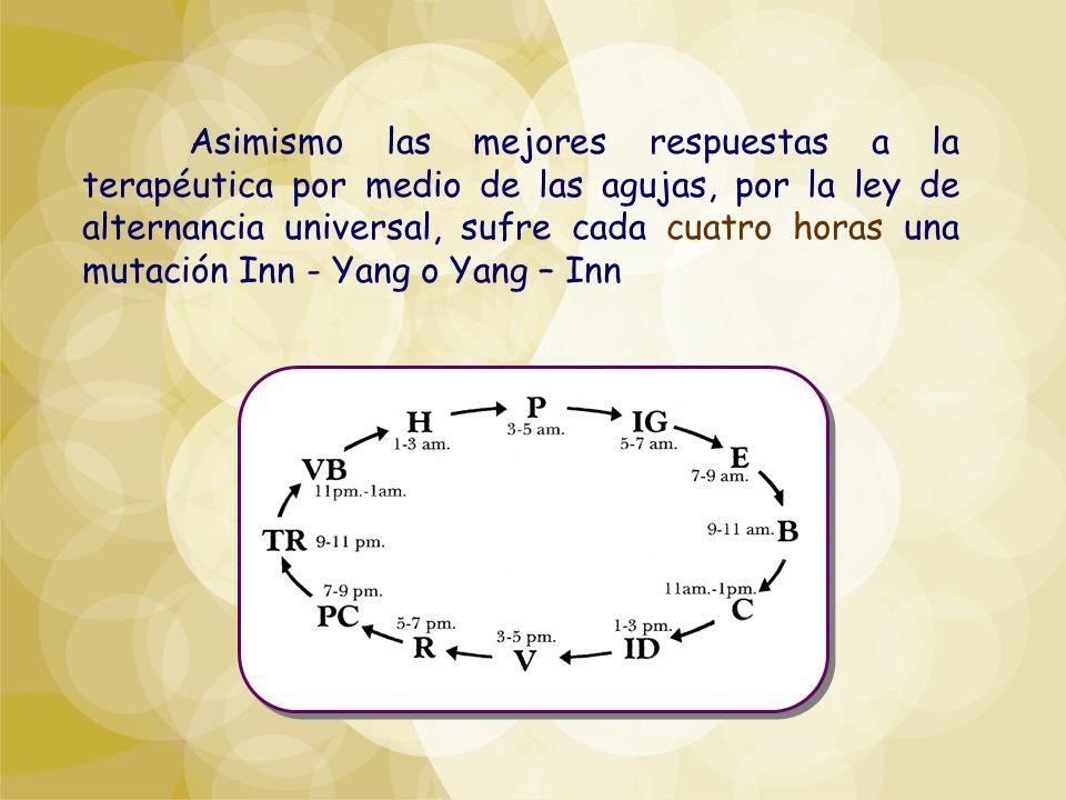 Asimismo las mejores respuestas a la terapéutica por medio de las agujas, por la ley de alternancia universal, sufre cada cuatro horas una mutación Inn - Yang o Yang – Inn
